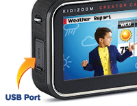 Kid FriendlyThe Creator Cam is not a connected device so that parents can better control if created content is transferred off the device and online using the included USB cable. USB cable is also used to recharge the battery.